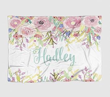 amazon com personalized baby blanket watercolor floral drop