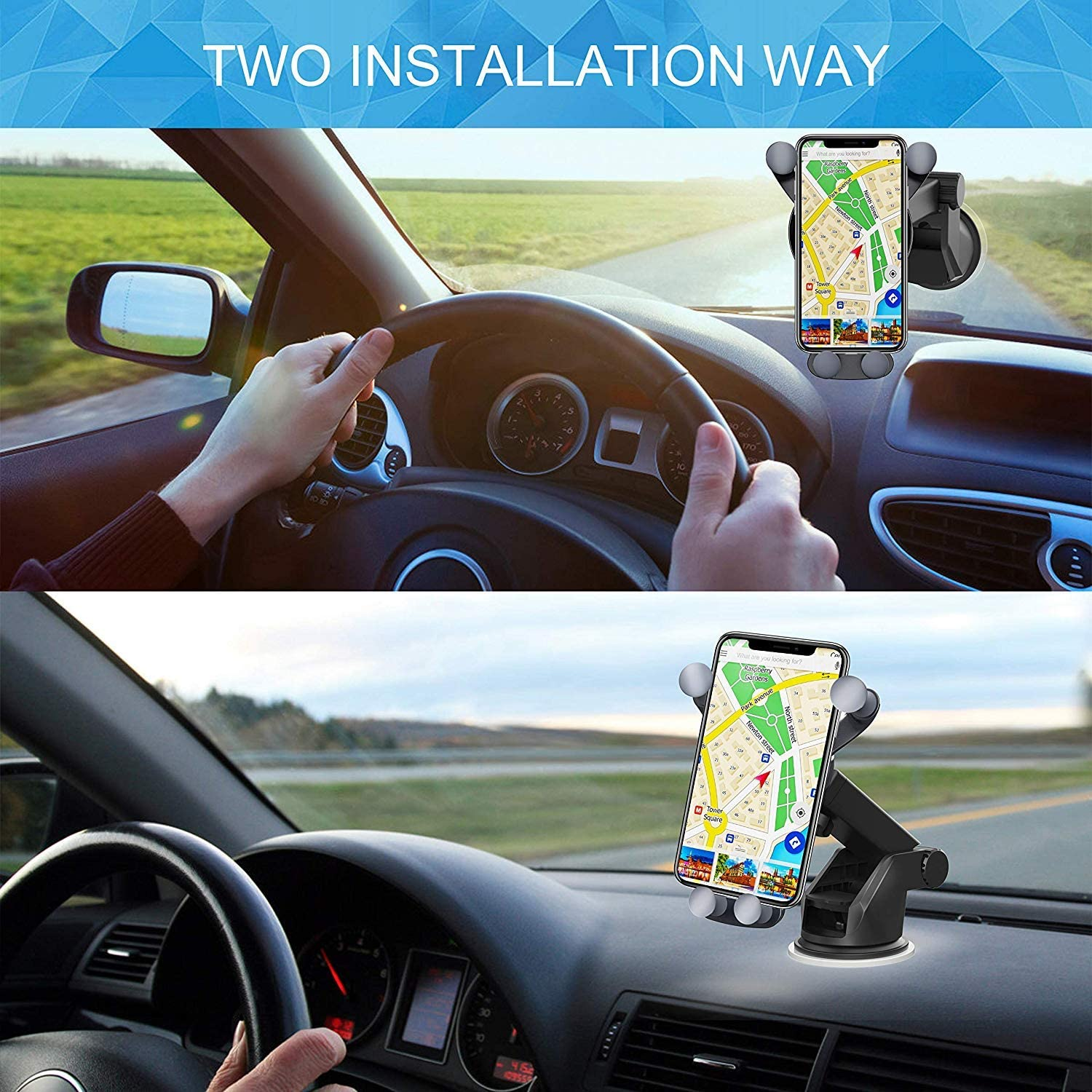 7.5W Compatible for iPhone Xs Max//Xs 10W//7.5W Fast Car Charging Benepower Wireless Car Charger Mount 10W Compatible for Samsung Galaxy S9//S9+//S8//S8+//Note 8 Dashboard /& Windshield Cell Phone Holder