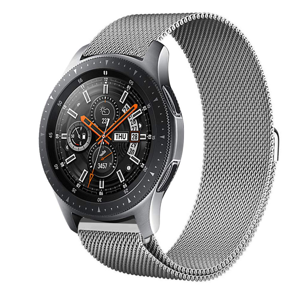 Kartice Compatible Gear S3 Band,Galaxy Watch (46mm) Bands,22mm Milanese Loop Stainless Steel Strap Wrist Replacement Band for Samsung Gear S3 Frontier/Gear S5 Classic Smart Watch(Silver)
