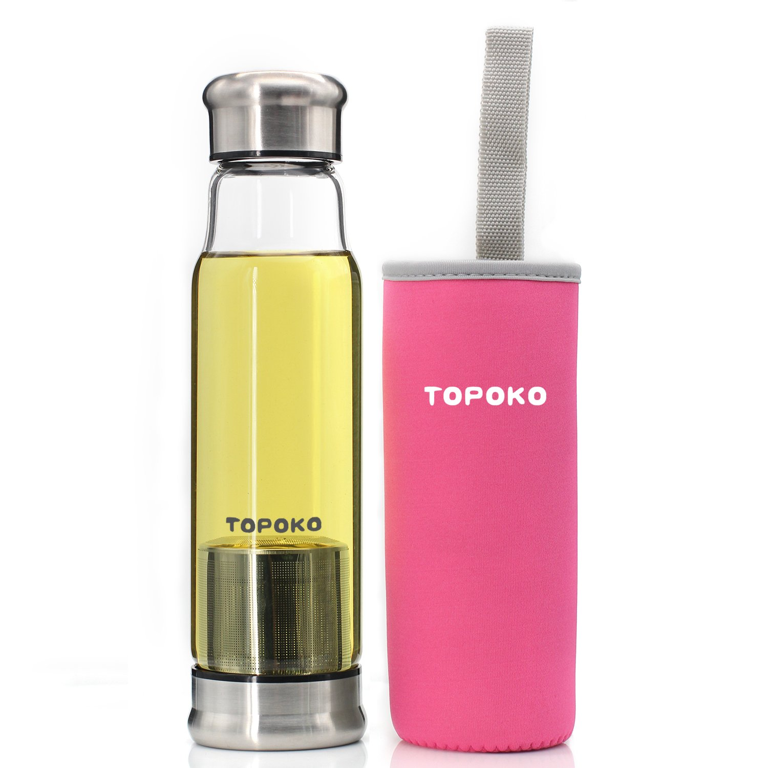 TOPOKO 18.5 OZ Tea Infuser Glass Bottle with Nylon Sleeve. Borosilicate Glass Mug for Drinking Loose Leaf Tea, Cold Brew Coffee, Fruit Juice. Stainless Steel Mesh Filter, Portable and Leak Proof.