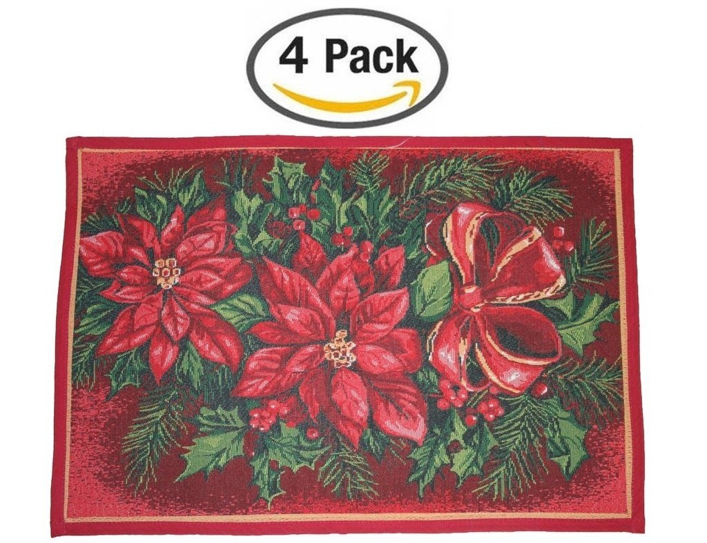 amazoncom decorative poinsettias and candles christmas holiday tapestry placemats 13 x 19 set of 4 home kitchen