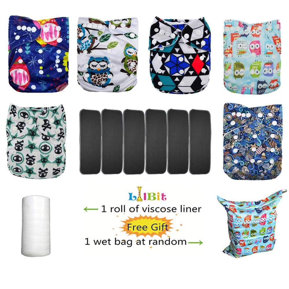 Lilbit 6 Nappy Adjustable Baby Cloth Diapers with 6 Bamboo Charcoal Inserts,flushable Viscose Liners,Wet/Dry Bag Ymxtzzh10 by LilBit