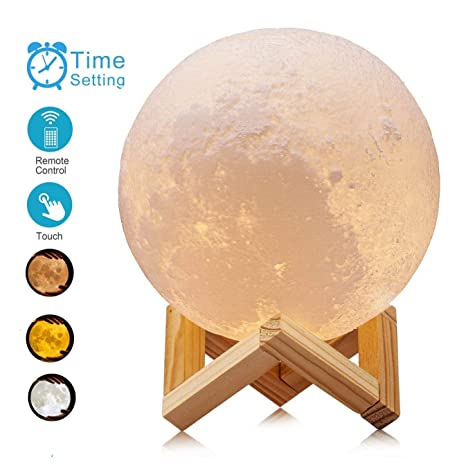 Soriace® 3D Printing Moon Lamp Great as a Gift for Birthday Christmas 13CM Rechargeable Bedroom Night Light Moon Light Table Desk Lamp Remote Control Version