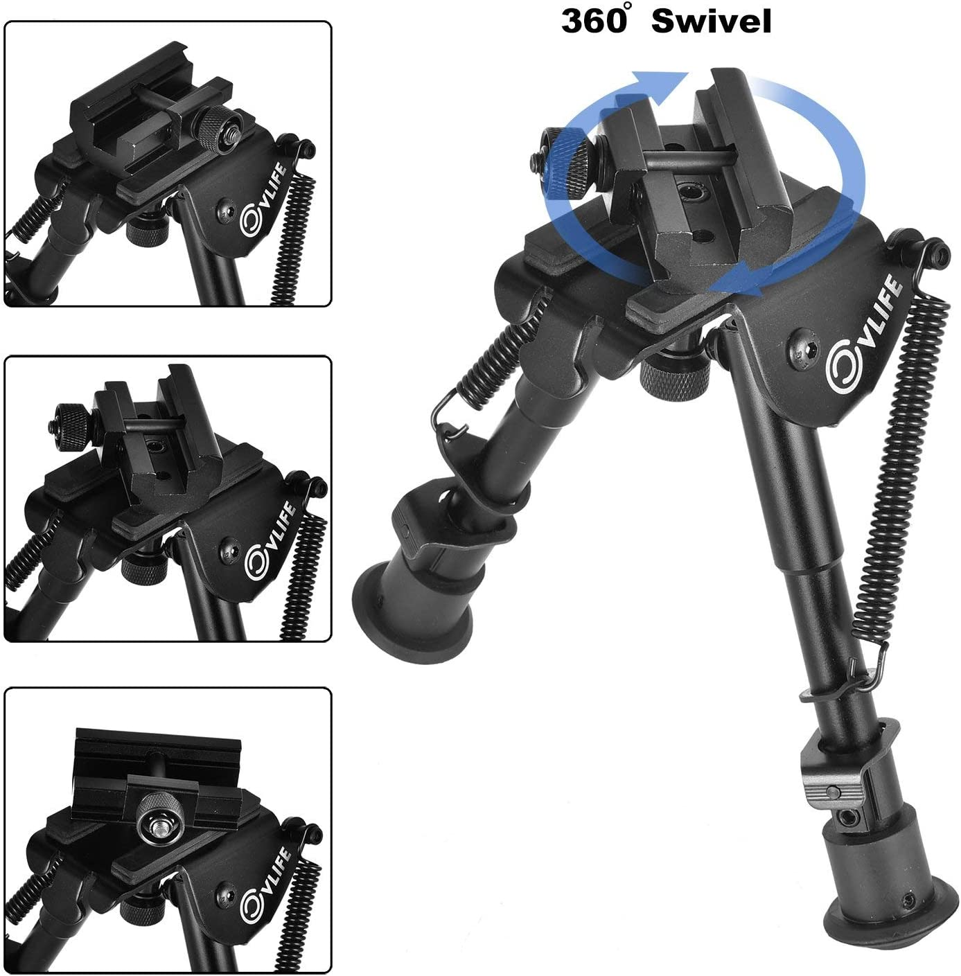 CVLIFE 6-9 Inches Tactical Bipod Adjustable Spring Return with 360 Degree Swivel Picatinny Adapter : Sports & Outdoors