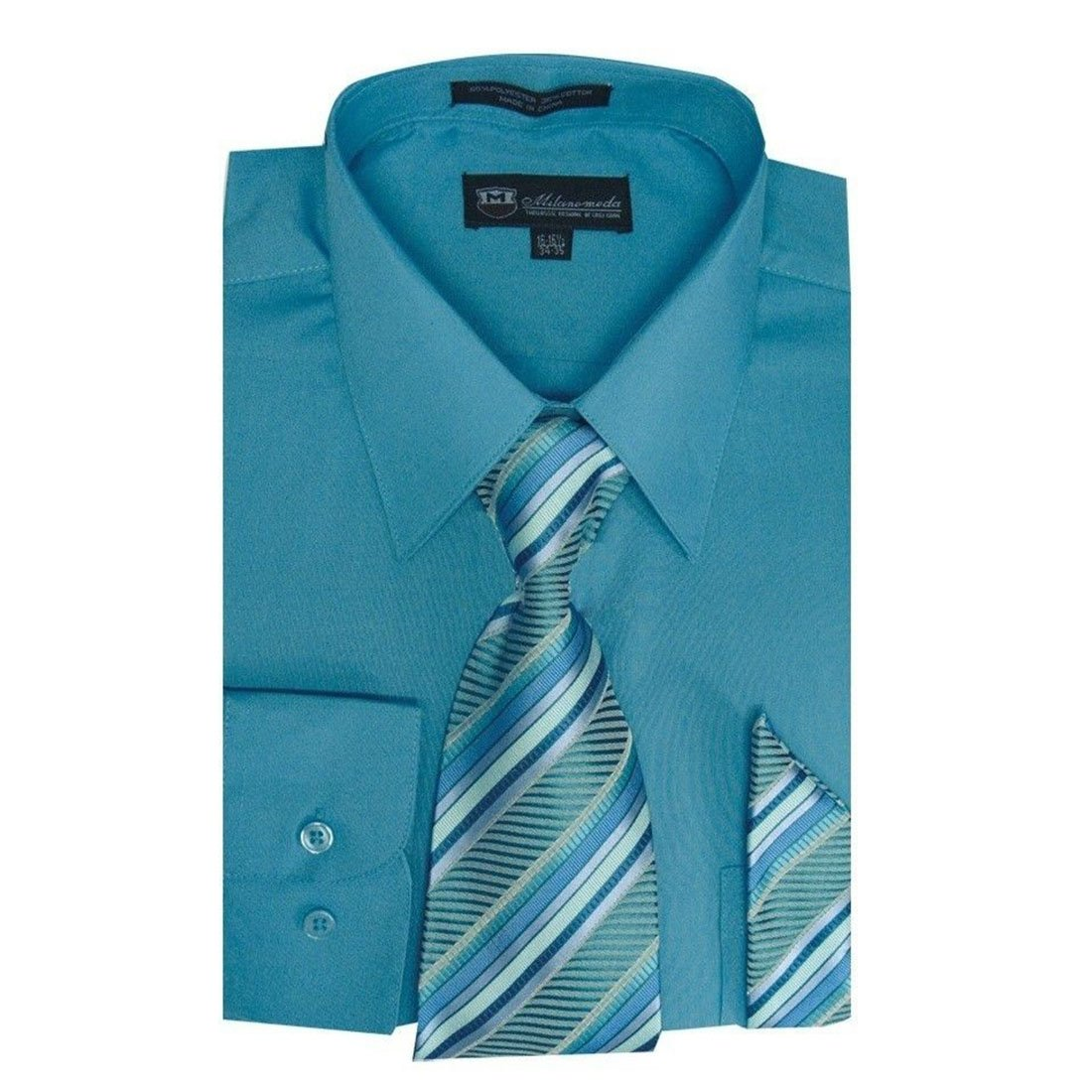 4386ec905 Milano Moda Men's Dress Shirt with Tie/Handkerchief HLSG21A New York Brand  at Amazon Men's Clothing store: