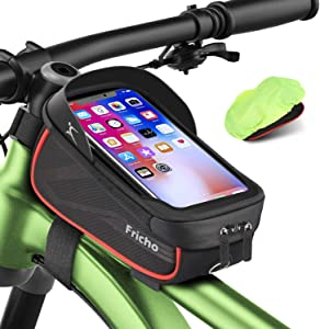 """Bike Frame Bag front Handlebar Bag Waterproof Cycling Top Tube Bag for Road Bicycle Accessories Storage Pouch Bag Best Gifts for Men Father Him Birthday Ideas Phone Holder with Touch Screen Under 6.5"""""""