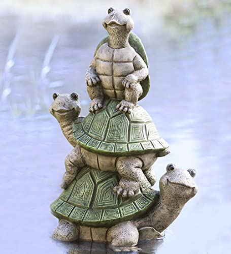 Wind Weather Tower of Turtles Yard Sculpture Whimsical Decorative Garden Art Resin Animal Statue 10 L x 3.5 W x 17 H