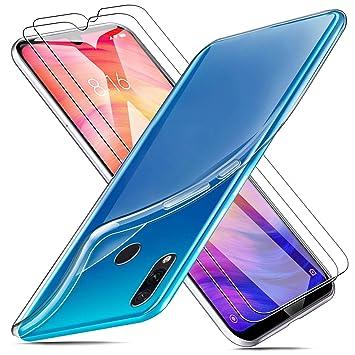 MICASE Funda para Xiaomi Redmi Note 7 + 2 X Protectores de Pantalla in Cristal Templado, Carcasa Silicona Transparente Protector Suave TPU Ultra Fino ...