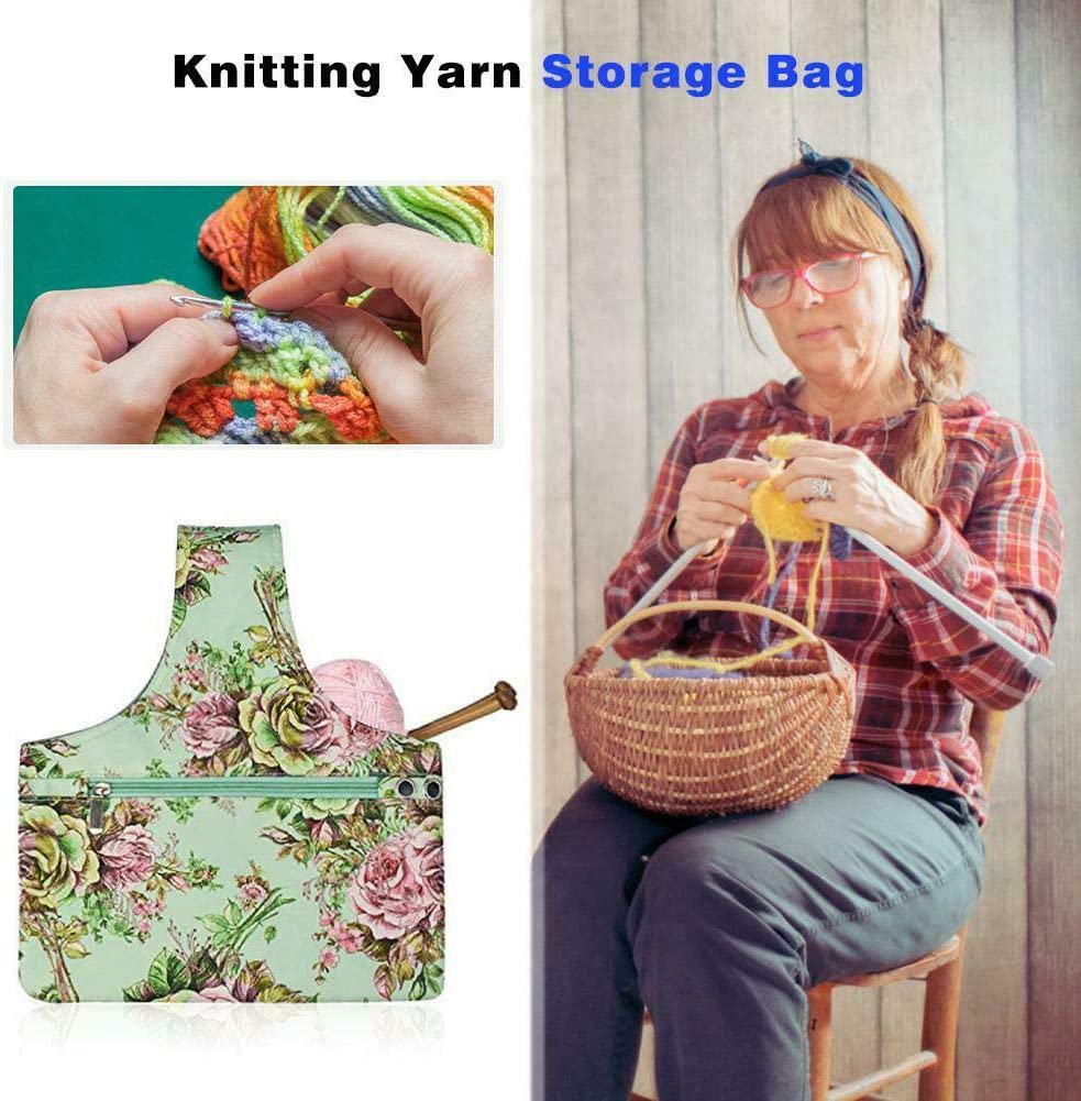 Yarn Storage Organizer Bag for Crochet Empty Floral Knitting Yarn Storage Tote Bag Basket for Yarn//Unfinished Projects//Other Knitting Accessories