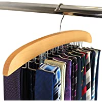 SunTrade Wooden Tie Hanger,24 Tie Organizer Rack Hanger Holder 24 Hooks