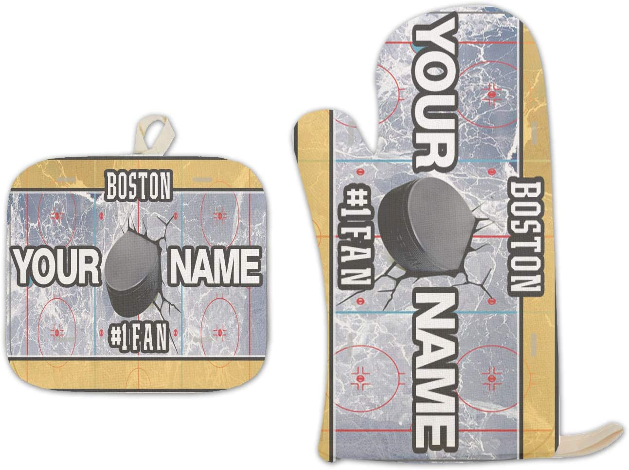 Bleu Reign BRGiftShop Personalized Custom Name Hockey Team Boston Linen Oven Mitt and Potholder Set