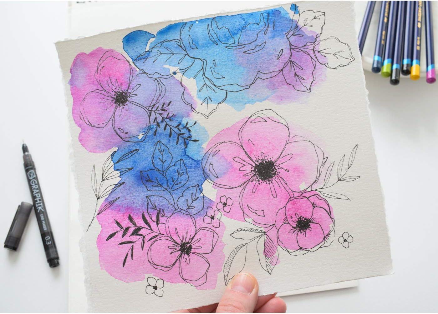 Derwent Hand Lettering Art Set with Inktense Pencils Graphik Pen /& Water Brush