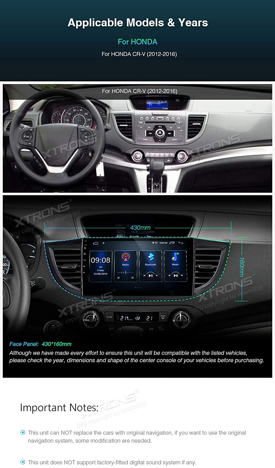 XTRONS Android 9.0 Car Stereo Radio Player 10.1 Inch IPS Touch ...