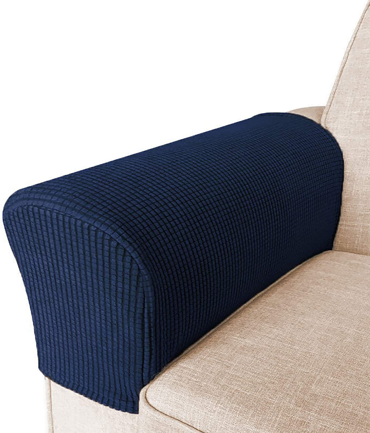 High Stretch Armrest Covers for Chairs and Sofas Spandex Jacquard Fabric Small Checks Armchair Covers for Arms Couch Arm Covers Armrest Covers for Sofa/Recliner Non Slip, Set of 2, Navy