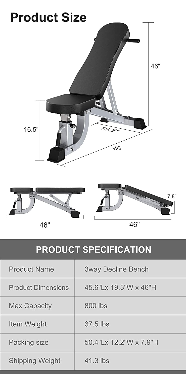 Weight Capacity Home Gym Equipment Gray Easy Moving Versatility Flat Incline Decline Bench YouTen 800LBS Adjustable Bench Press for Abs Exercise Like Dragon Flag