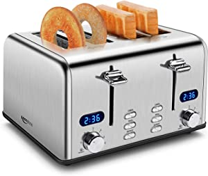 4 Slice Toaster, Keenstone Retro Bagel Toasters with Timer, Wide Slot, Crumb Tray, Brushed Stainless Steel