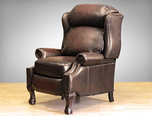 Barcalounger Danbury II Leather Recliner Coffee Leather Espresso Wood Legs