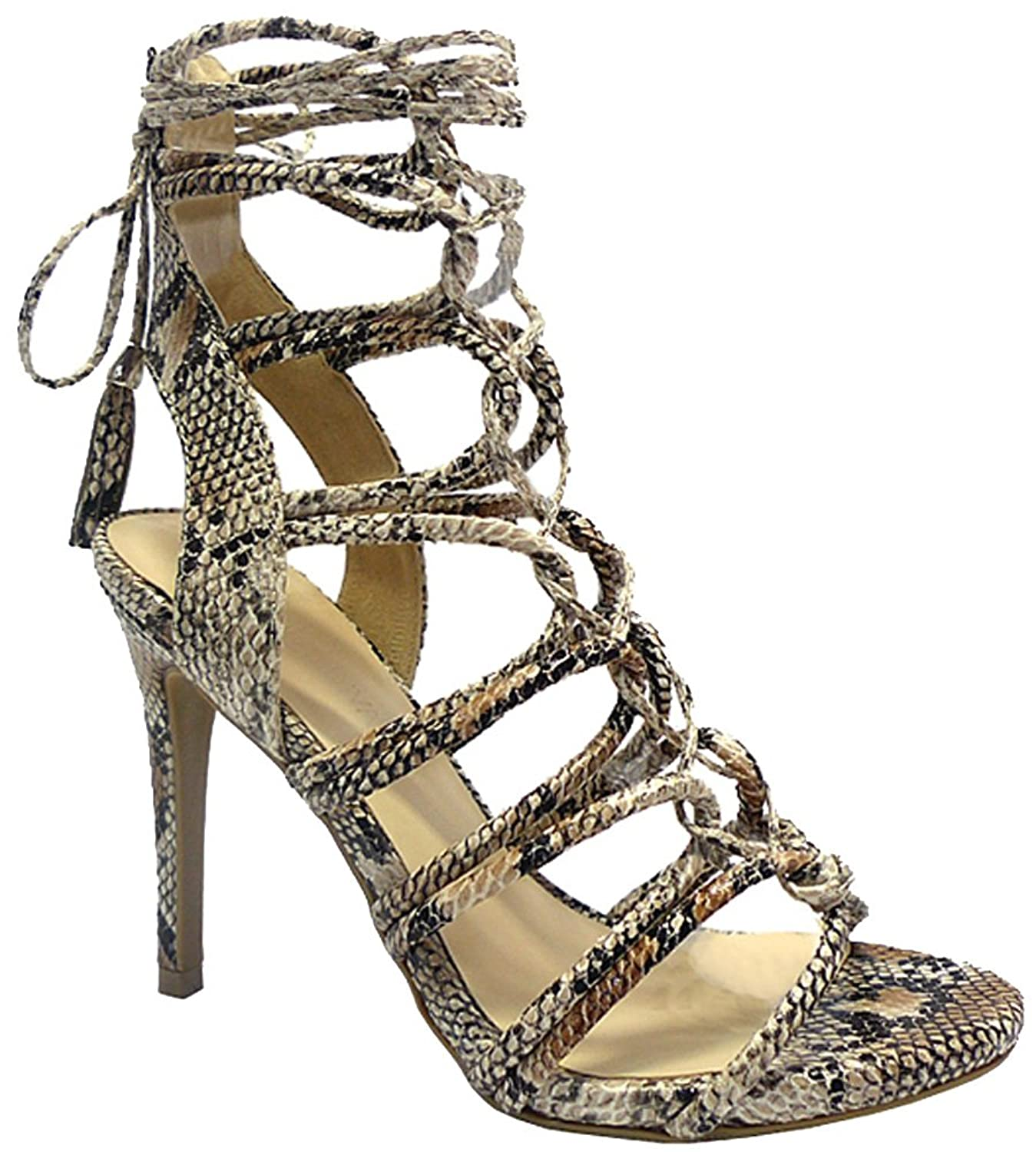 Wild Diva Gladiator Strappy Lace Up Tie High Heel