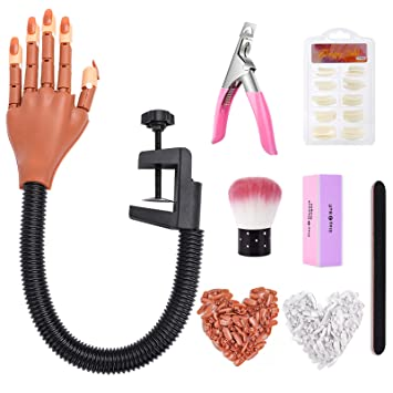 LIONVISON Practice Hand for Acrylic Nails-Flexible Moveable Nail Practice Hand Kits,False Fake Nail Mannequin Hands For Nails Art DIY Print Practice Tool with Nail Files,Brush,Clipper,300pcs Nail Tips