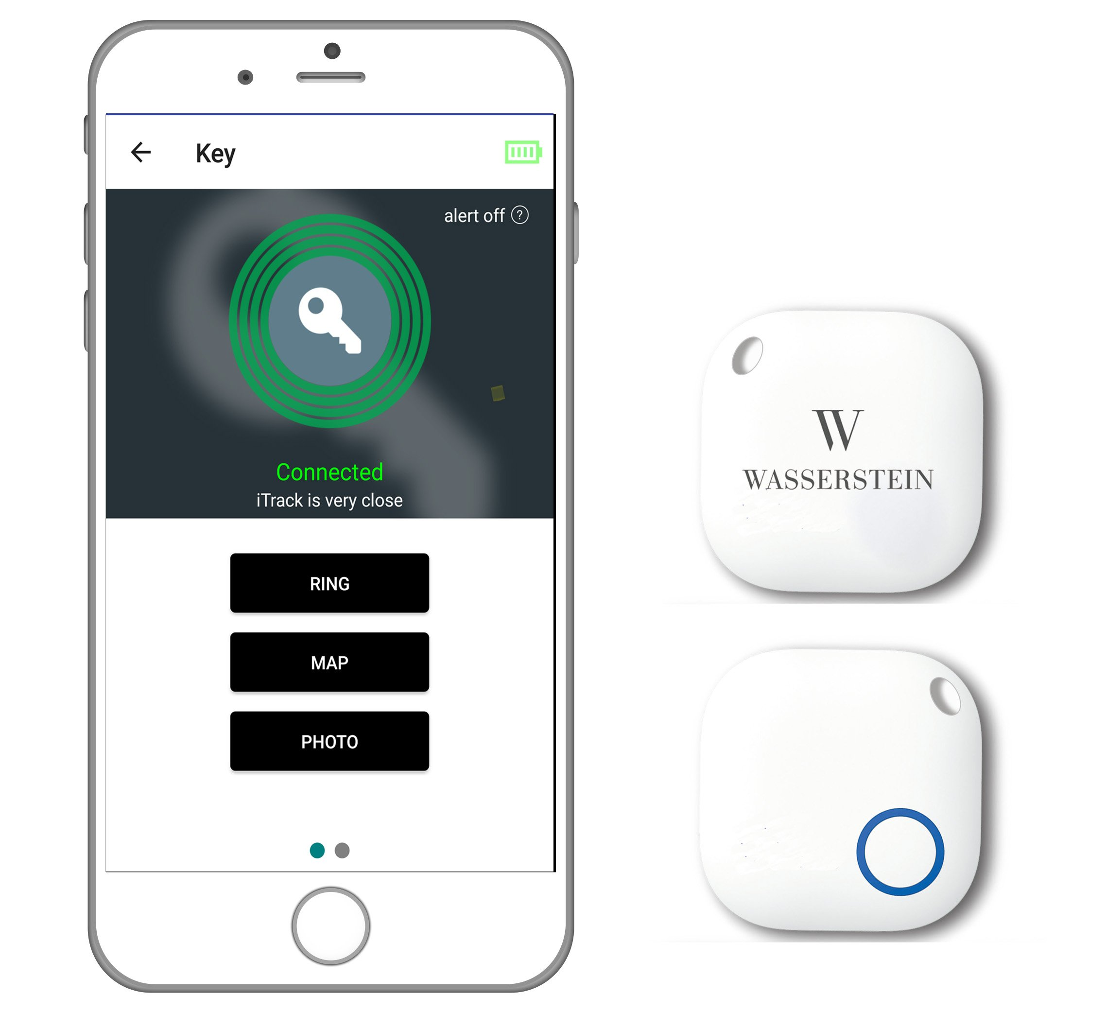 Bluetooth Key Finder, GPS Smartphone Tracker, Smart Anti-Lost Alarm, Remote Camera Controller for iOS & Android Devices by Wasserstein (2, White)