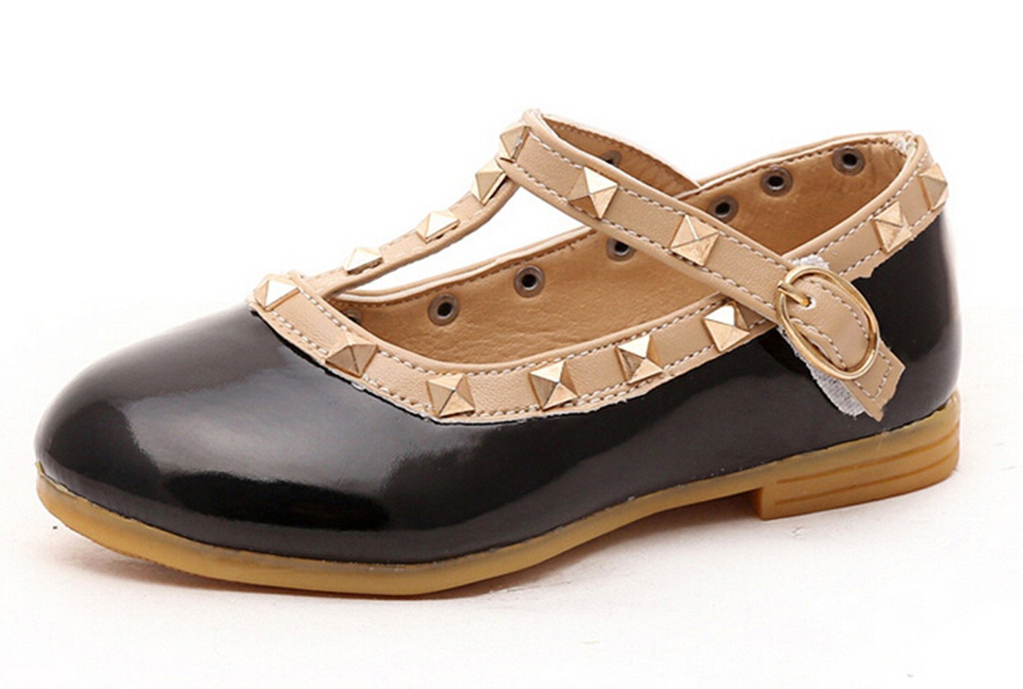 Bumud Girls Toddler T-Strap Flat Shoes Little Kids Mary Jane Studded Shoes (12 M US Toddler, Black)