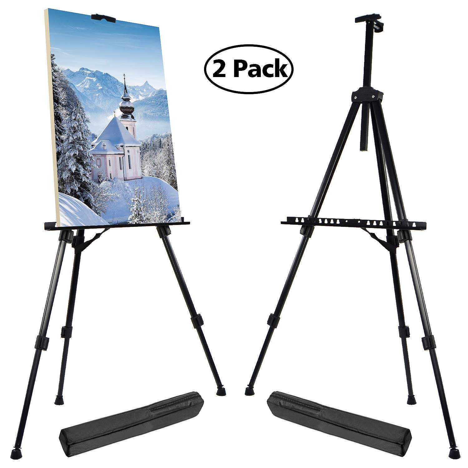 T-SIGN 66 Inches Reinforced Artist Easel Stand, Extra Thick Aluminum Metal Tripod Display Easel 21 to 66 Inches Adjustable Height with Portable Bag for Floor/Table-Top Drawing and Displaying, 2 Pack by T-SIGN