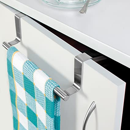 EKRON 1 PC Stainless Steel 14'' Towel Rack Organiser/Kitchen Over The Door Hanger/Wall Hook Hanger/Towel Holder for Hanging Towel, Clothes, Jeans, Jackets, Scarfs, in Room, Kitchen, Bathroom etc
