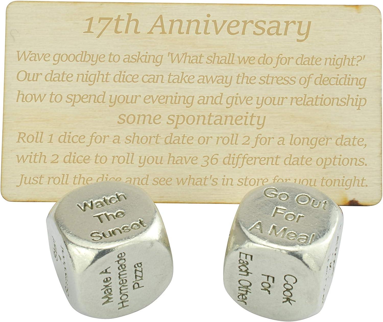 Create a Unique 17th Anniversary Date Night 17 Year Anniversary Metal Date Night Dice