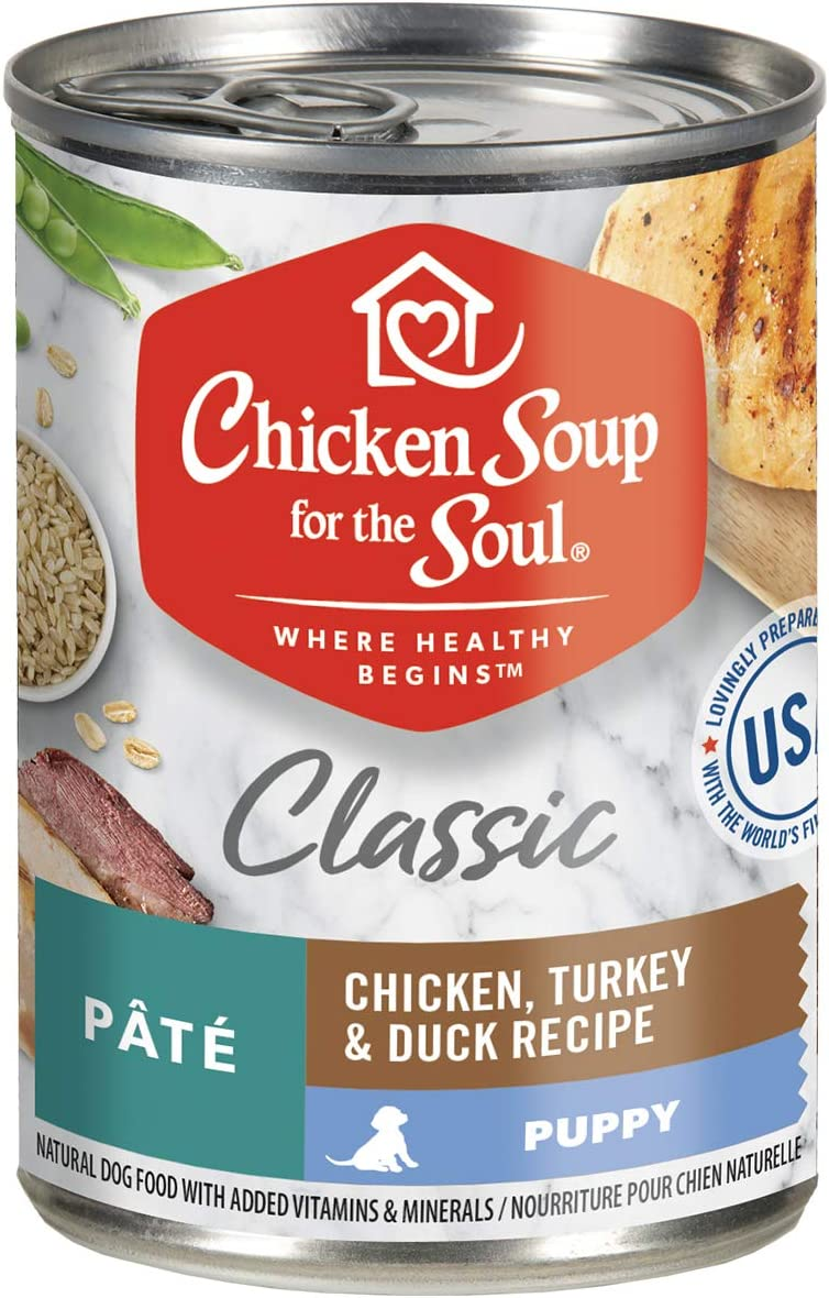 Chicken Soup for The Soul Puppy - Chicken, Turkey & Duck Classic Wet Dog Food Pate - Twelve 13 Ounce Cans - Soy, Corn & Wheat Free, No Artificial Flavors