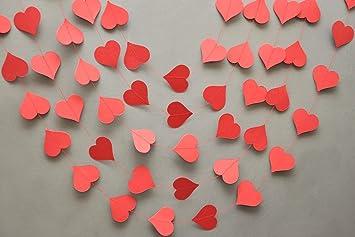 red heart garland heart garland valentines day heart garland paper garland wedding