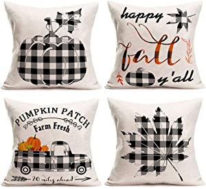 Aremetop Pack of 4 Fall Decor Buffalo Plaids Pumpkin Leaves Truck Pillow Covers Autumn Farm Fresh Pumpkin Patch Throw Pillow Case Cushion Cover with Quote Cotton Linen 18x18 Inch Fall Decorations