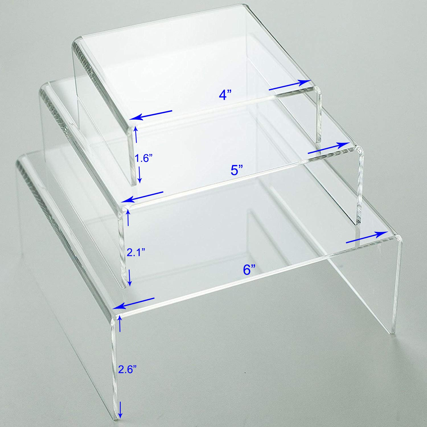 Huji Clear Medium Low Profile Set of 3 Acrylic Risers Display Stands (2 Set, Clear Acrylic Risers) by Huji (Image #4)