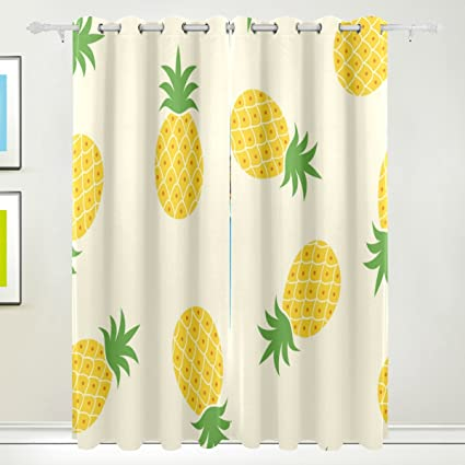 La Random Cute Summer Pineapple Window Curtains Blackout Curtains For  Bedroom Living Room Home Decor Single