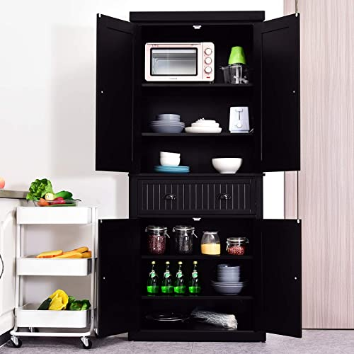 HOMCOM 72″ Traditional Freestanding Kitchen Pantry Cabinet Cupboard