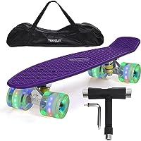 "Yorbay 22"" Mini Cruiser Skate 56cm Skateboard Complet avec Le Sac et T-Tool (Planche Violete/LED Transparente Roue)"
