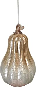 Ornaments Gold/Silver Pumpkin Gourd Lantern by Anvehu Mercury Glass Design with LED Lights for Fall Autumn Halloween & Thanksgiving Decorations Includes Removable Hanging Spiral Chain