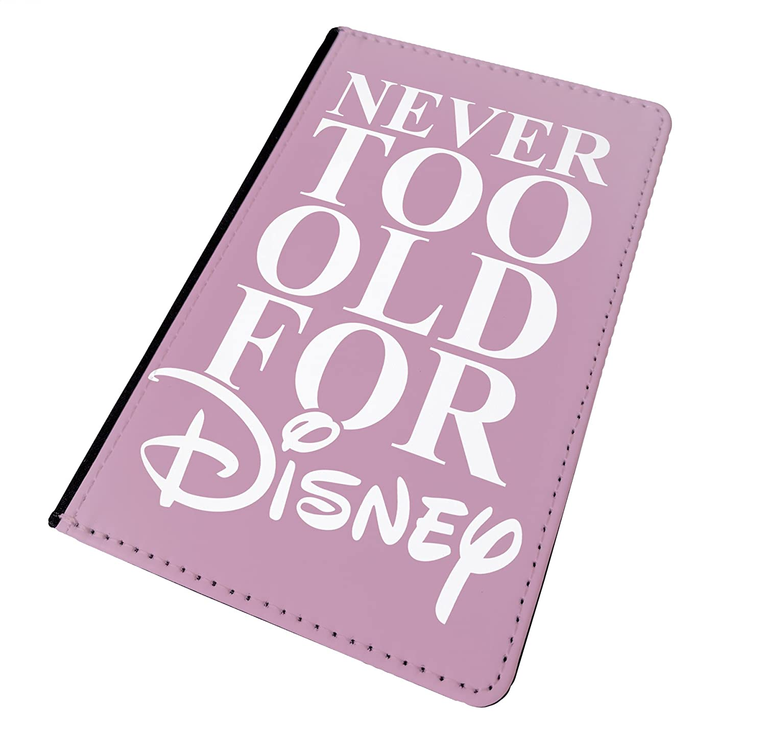 WTF | Never Too Old For Disney - Pink | Printed Art Faux Leather Passport Cover/Luggage Tag (Holder/Luggage Tag Combo)