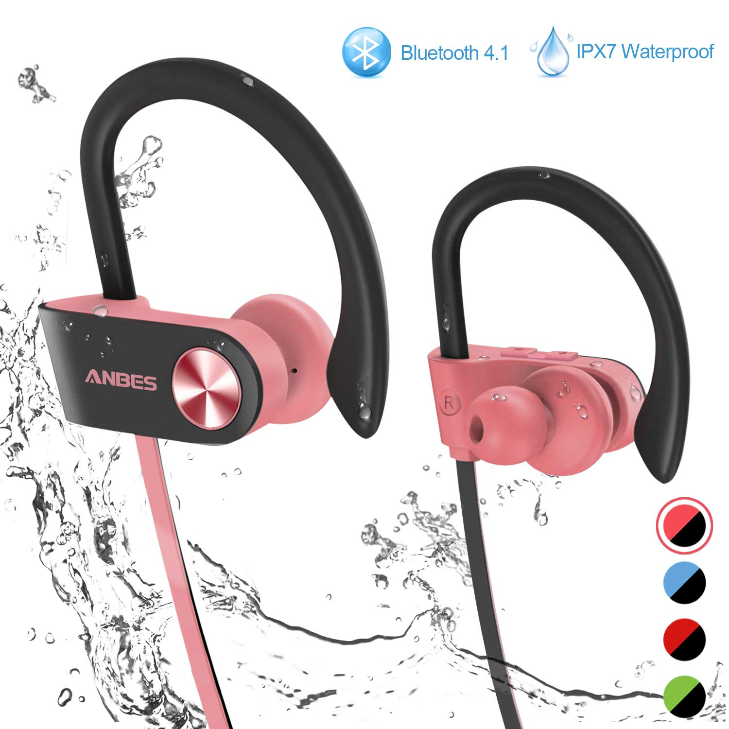 0fe8353ab09 Bluetooth Headphones, ANBES IPX7 Waterproof Wireless Earbuds, Sports Earbuds  with Ear Hooks & Mic