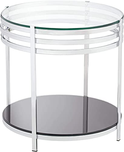 Rico 21″ Wide Chrome and Glass Modern Round End Table