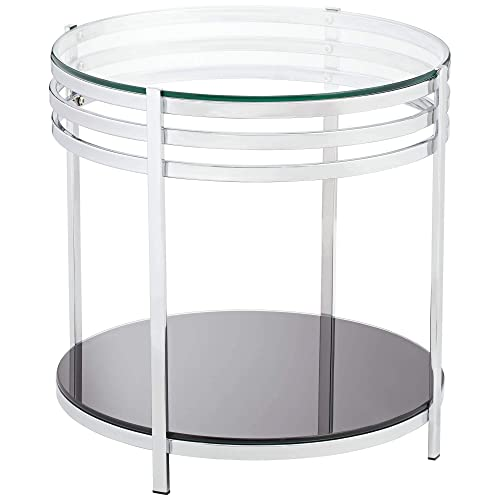 Rico 21 Wide Chrome and Glass Modern Round End Table – Studio 55D