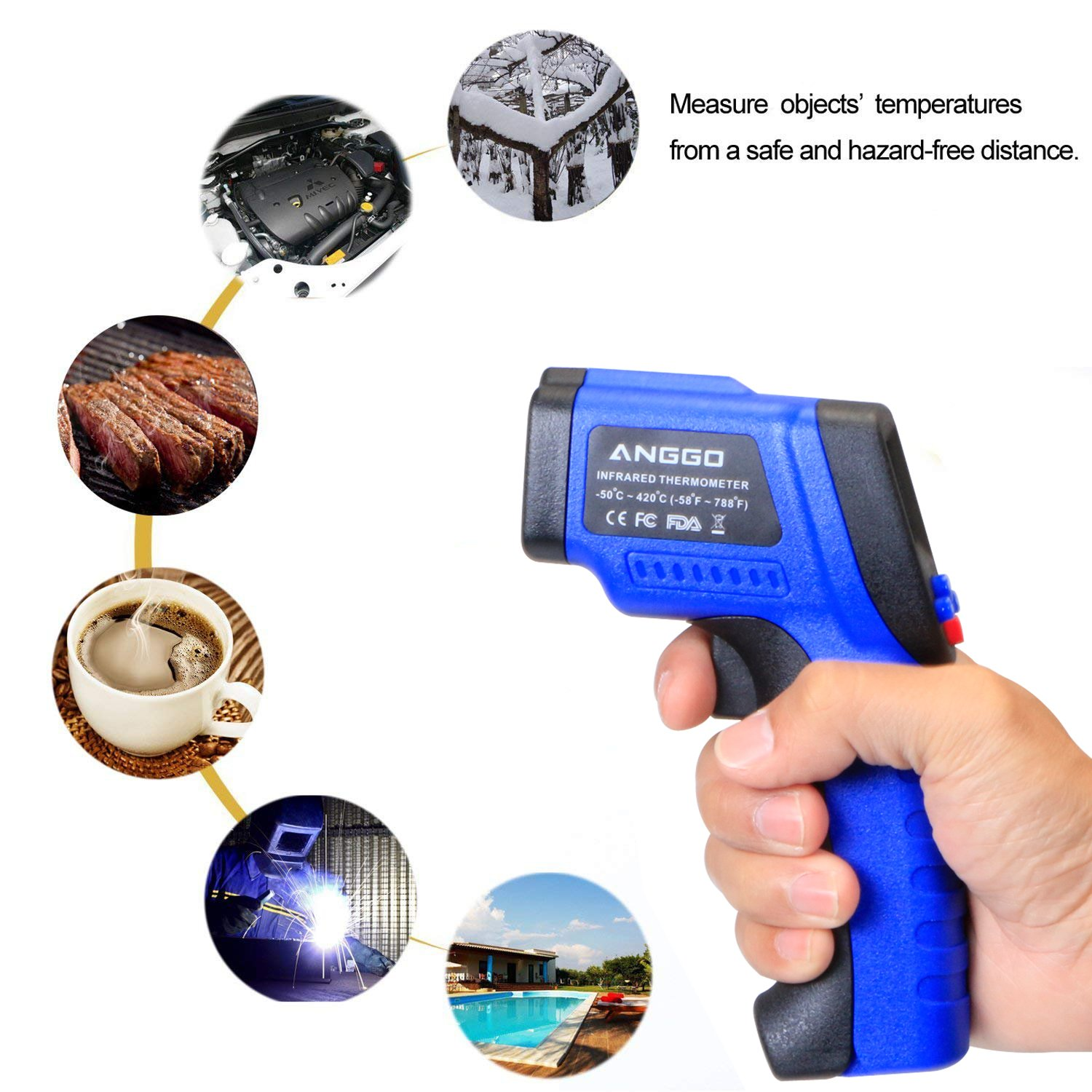 ANGGO Non-contact Digital Infrared Thermometer Temperature Gun with EMS Adjustable (-58 °F to 788°F) by ANGGO (Image #6)