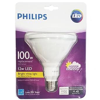 Philips 460051 12w 100w equivalent bright white indooroutdoor philips 460051 12w 100w equivalent bright white indooroutdoor par38 flood light bulb workwithnaturefo