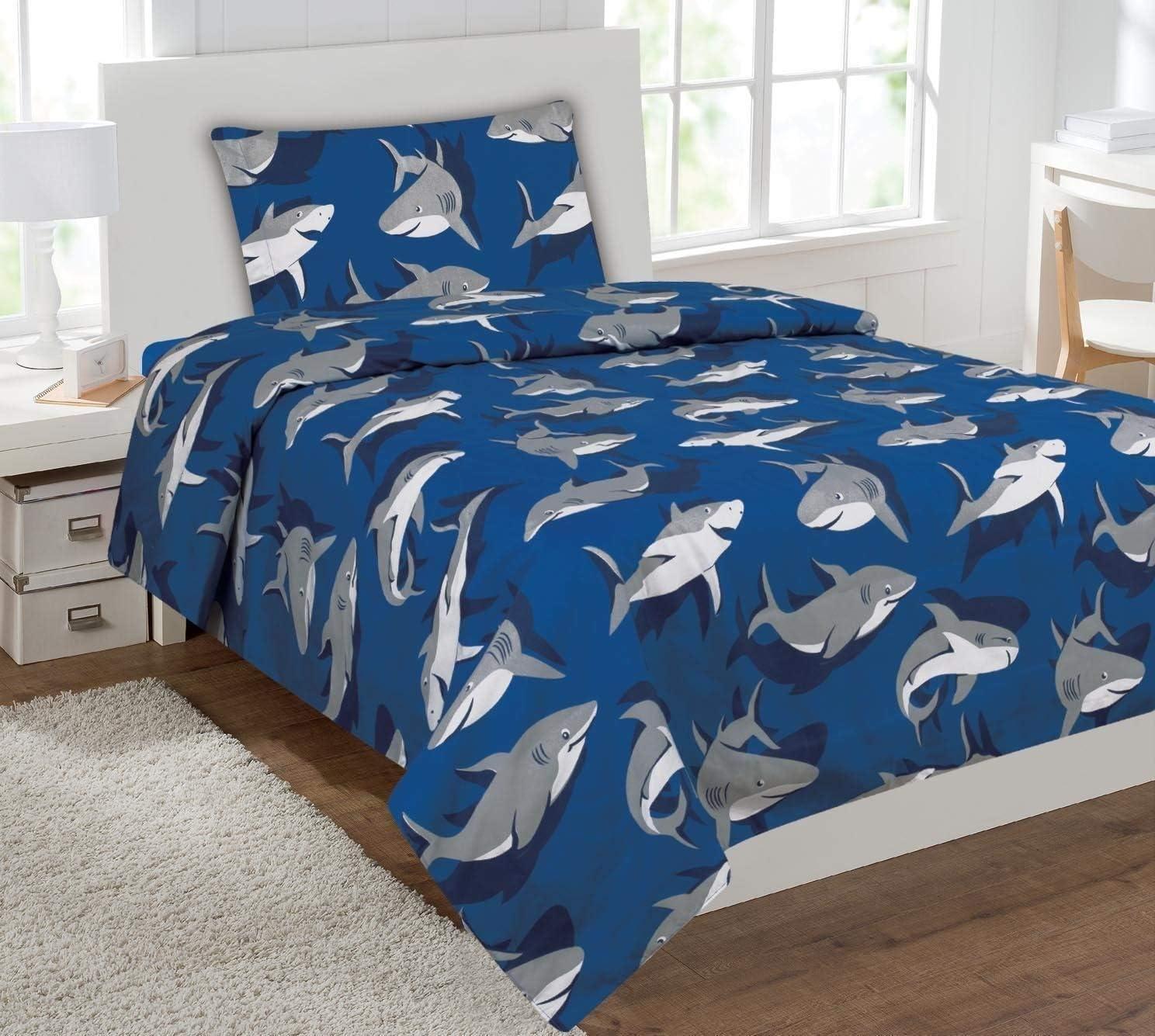 Fancy Collection 3pc Twin Size Kids/teens Blue Grey Shark Design Luxury Sheet Set New