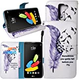 LG Stylo 2 Case, Harryshell(TM) Feather Wallet Folio Leather Flip Case Cover with Card Holder and Wrist Strap for LG G Stylo 2 (2016)
