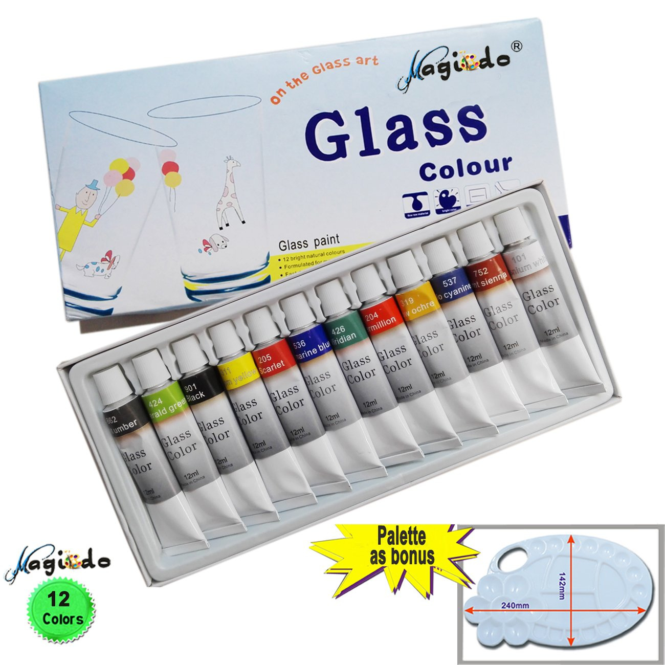 Non toxic craft paint - Magicdo 12 Cols Glass Paint With Free Palette Professional Glass Colour Set Quality