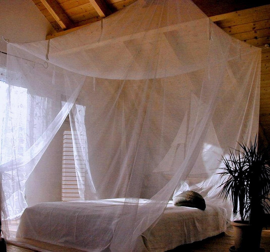 Jumbo Mosquito Netting Canopy for Queen/King Size Bed. Super-Thin Mesh Net Lets Breeze In and Bugs Out. Protect Your Sleep From Mosquitoes in an Exotic Nets Bedroom Decor.