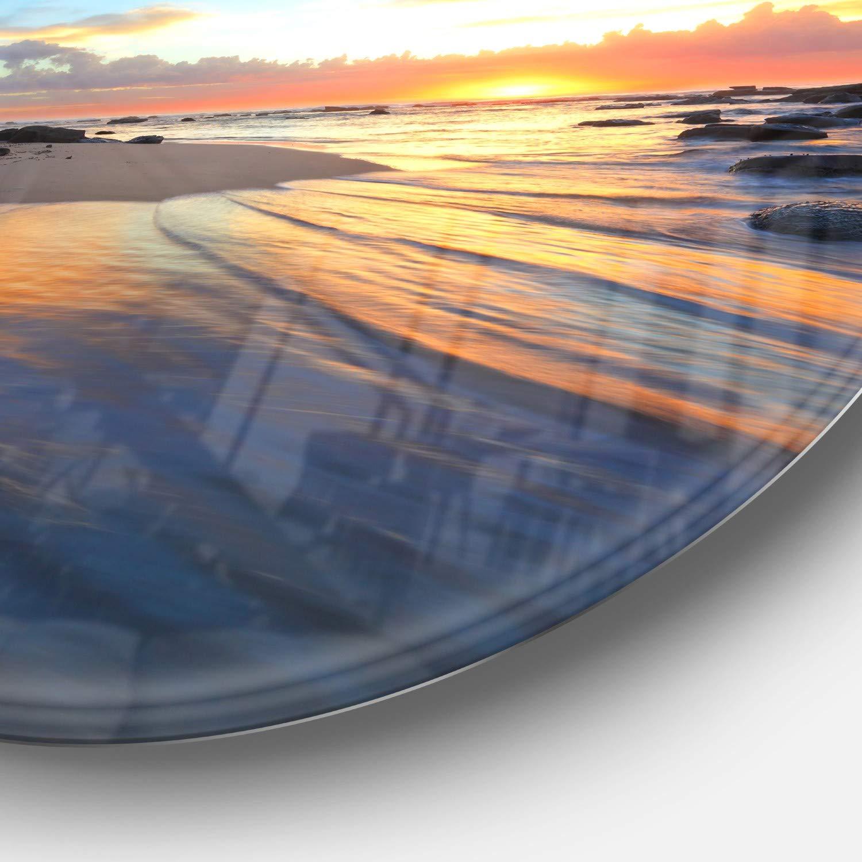 Designart MT10567-C38 Metal Wall Art Disc of 38 inch 38x38-Disc Blue//Orange