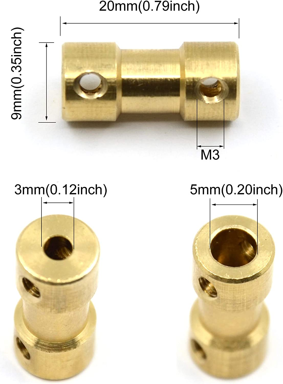 3mm to 5mm Befenybay 8 Pcs 3mm to 5mm Brass Connector Copper DIY Motor Flexible Shaft Coupling Joint Connector With Screws for RC Model Motor