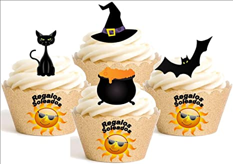 12 x - Gatos negros y brujas de Halloween Mezcla dibujos animados Decoración Impreso en Papel