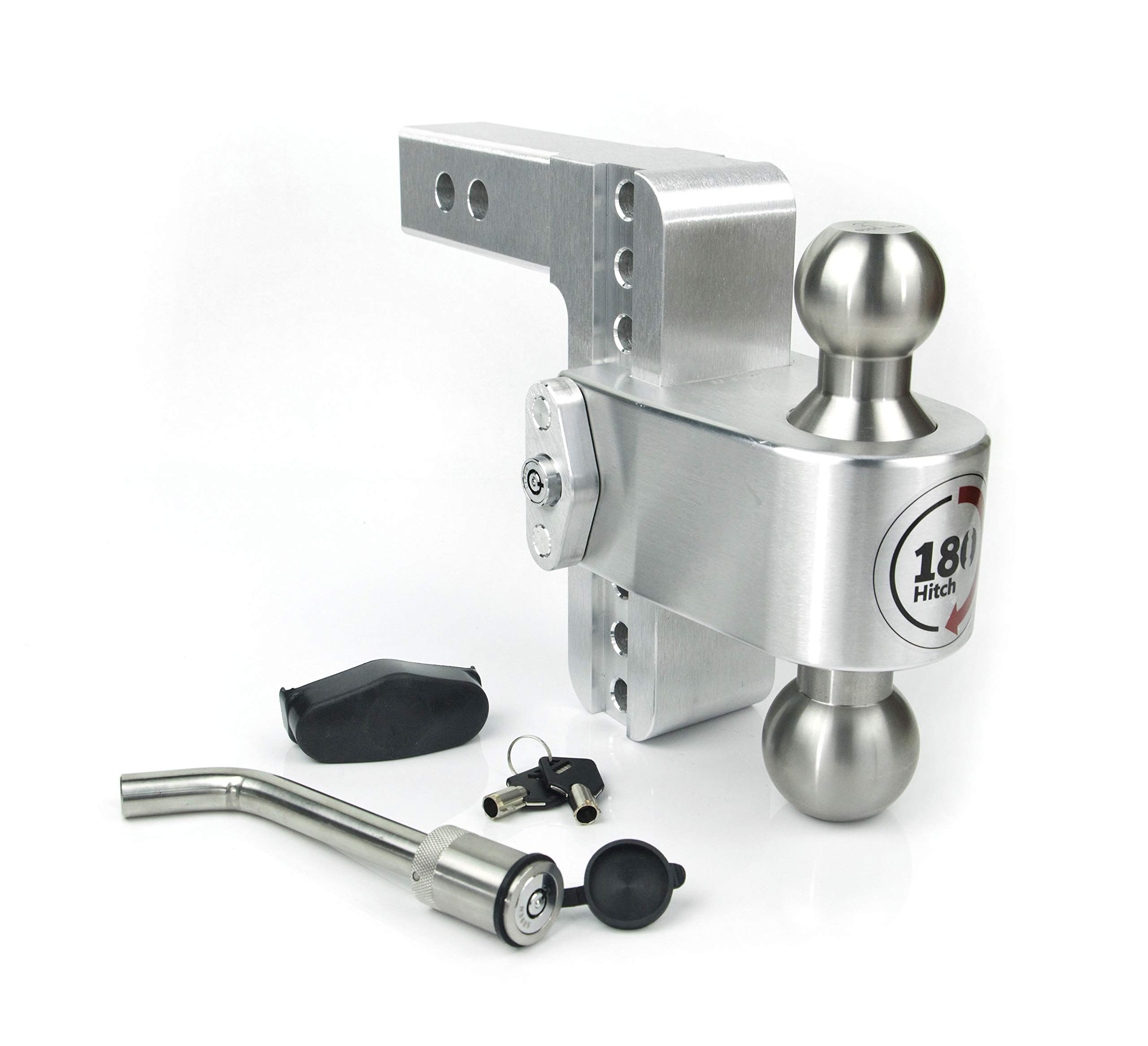 Weigh Safe LTB6-2-KA, 6'' Drop 180 Hitch w/ 2'' Shank/Shaft, Adjustable Aluminum Trailer Hitch & Ball Mount, Stainless Steel Combo Ball (2'' & 2-5/16''), Keyed Alike Key Lock and Hitch Pin by Weigh Safe
